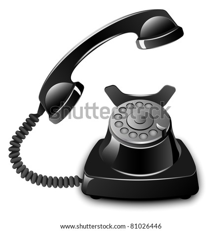 Old telephone with removed receiver. Vector illustration