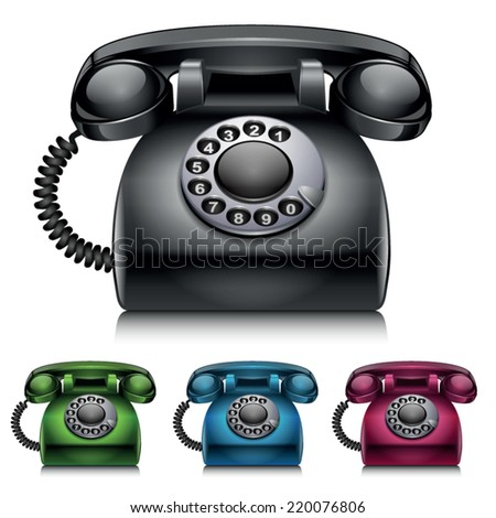 Old telephones. vintage style vector illustration - stock vector