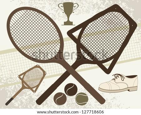 Old Tennis Elements - Vector eps8. - stock vector
