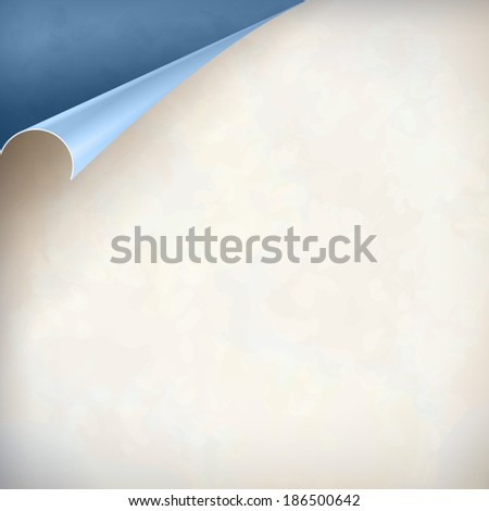 Old textured sheet of paper vintage background with curled corner. Vector page curl design. Easily change color of page curl paper - stock vector
