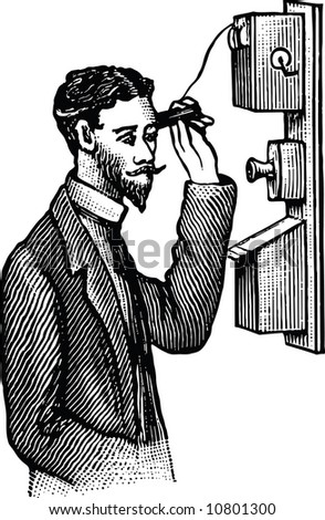 Old-time engraving of the Phone