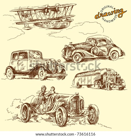 old time-hand drawn collection - stock vector