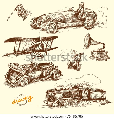 old time - hand drawn collection - stock vector