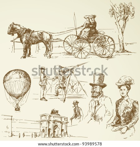 old times - stock vector