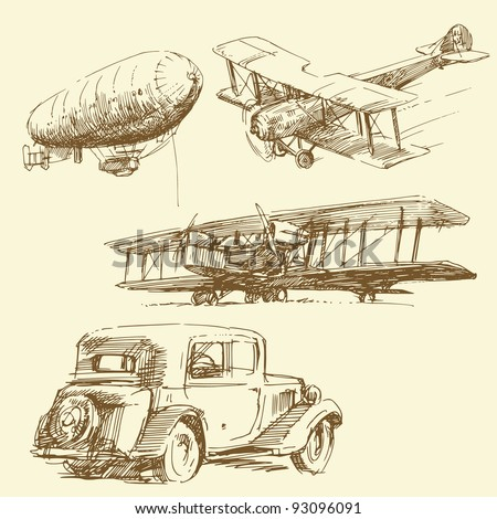 old times - hand drawn collection - stock vector