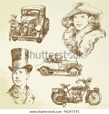 old times - hand drawn set - stock vector