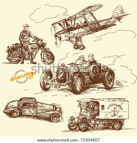 old times-original hand drawn collection - stock vector