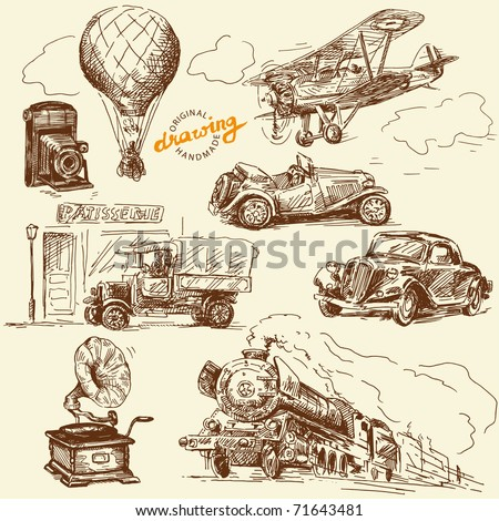 old times-original hand drawn set - stock vector
