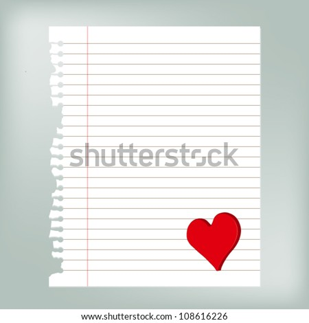 Old torn paper and lines with red heart decoration, vector eps 10 - stock vector