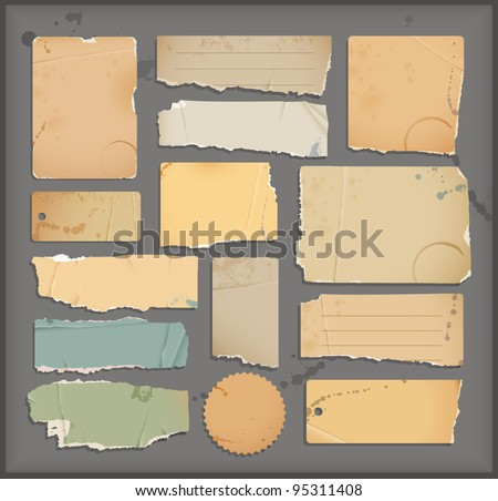 old torn paper  objects - stock vector