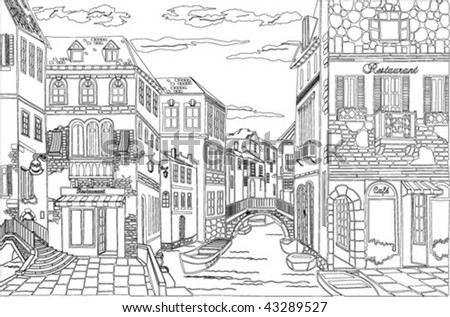 old town - stock vector