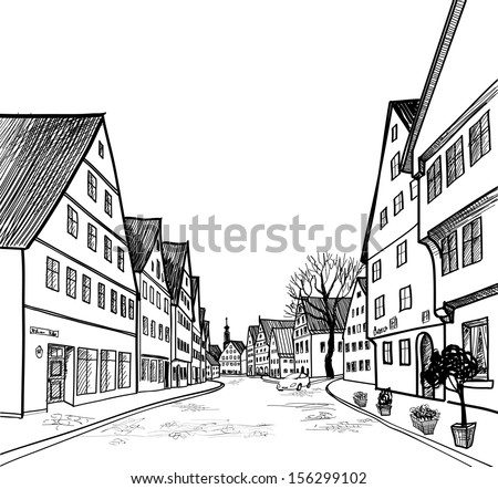 Old town cityscape with street cafe. Sketch of historic building and house. Pedestrian street in the old european city. Hand drawn sketch. Vector illustration.