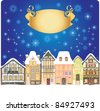 Old town decorated for Christmas - stock vector