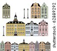 Old town houses. Vector illustration - stock vector