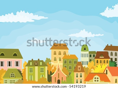 old town illustration - stock vector
