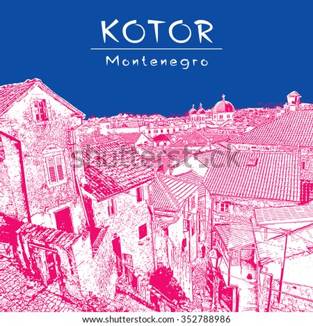 Old town Kotor (Montenegro). City scape of tiled roofs in pink and blue color. Vector image for travel guide, guidebook; website, brochure, catalog, greeting card, presentation. - stock vector