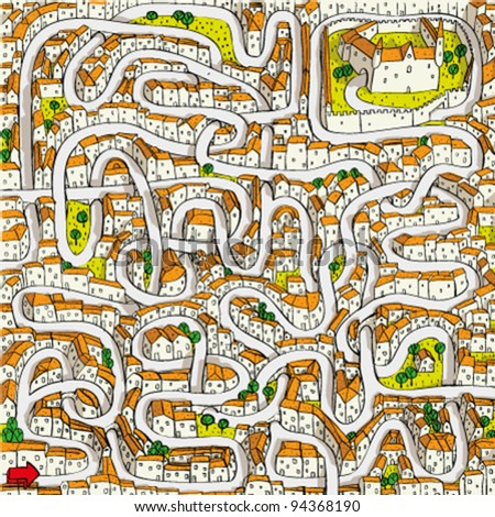 Old Town Maze Game (find the way to castle) - stock vector