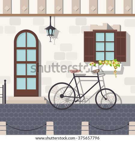 Old town street with bicycle. Windows with shutters and flowers. Vector illustration. - stock vector