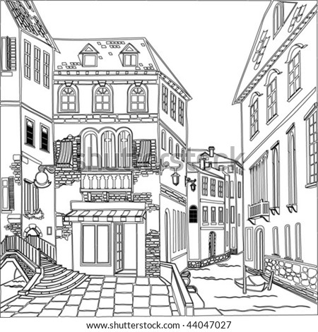 old town. vector image - stock vector