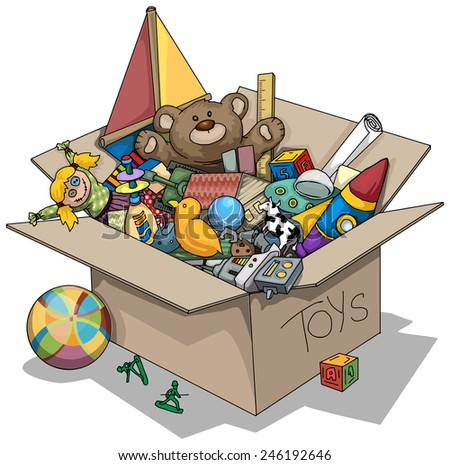 Old toy box, vector illustration - stock vector