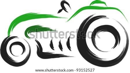 old tractor sketch - stock vector