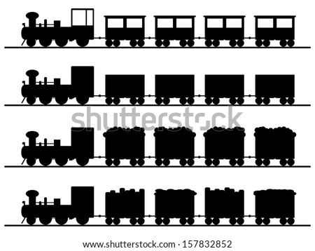 Old trains illustrated on white - stock vector