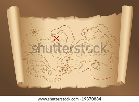 old treasure map - stock vector