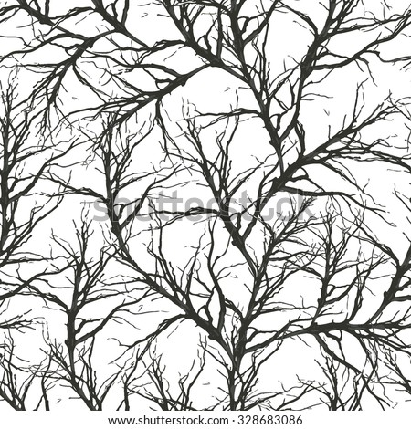 old tree brunches seamless vector pattern - stock vector