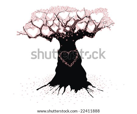 Old Tree of love - stock vector