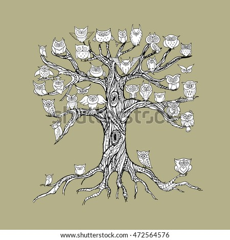 Old tree with owls for your design
