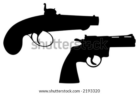 Old turkish gun and modern powerful weapon - vector art - stock vector