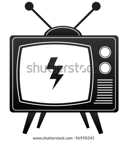 Old Tv Icon - stock vector
