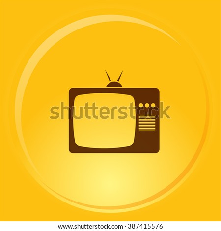 Old TV icon. Flat design style.  - stock vector