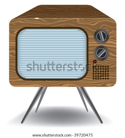 old TV isolated on a white background - stock vector