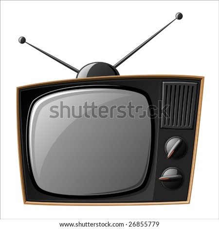 Old TV set isolated on white (Vector) - stock vector