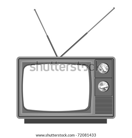 Old tv - television vector with blank screen. Add your own picture or text - stock vector