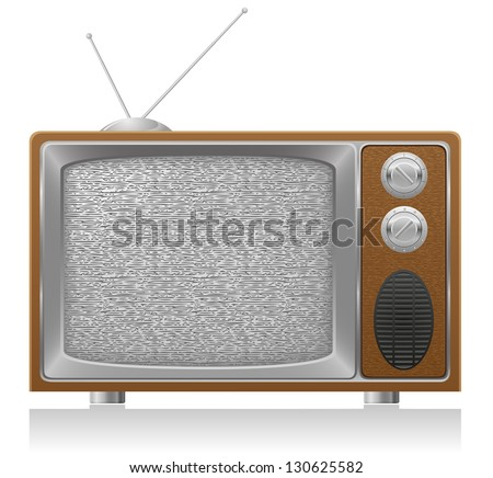 old tv vector illustration isolated on white background - stock vector