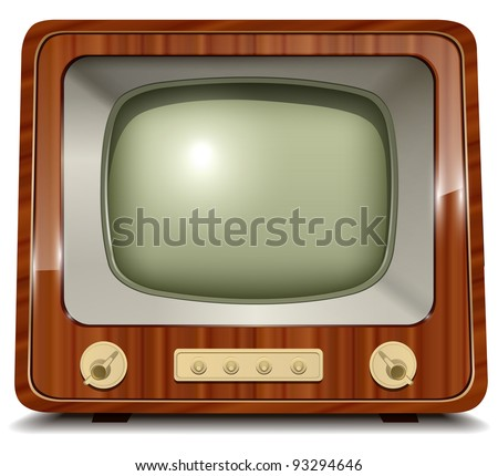 Old tv, vintage vector illustration. - stock vector