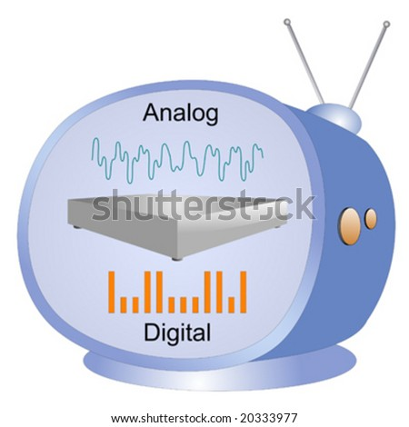Old tv with analog to digital converter box on screen - stock vector
