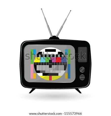 old tv with tv test vector  illustration - stock vector