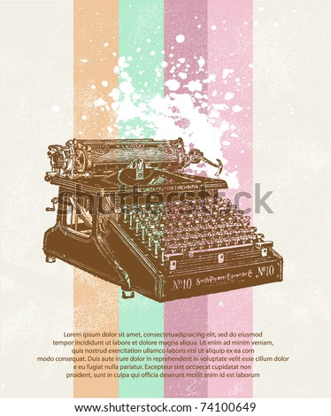 Old typewriter on grunge background - stock vector