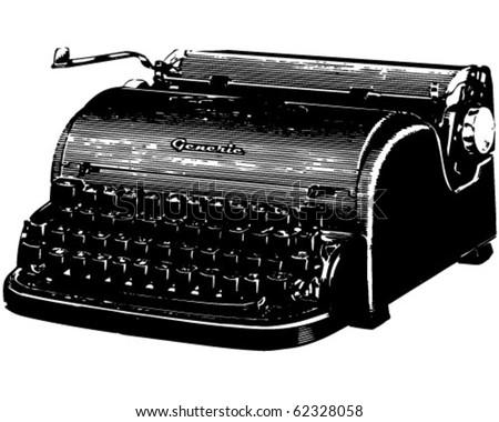 Old Typewriter - Retro Clipart Illustration - stock vector