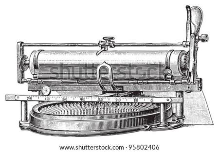 Old typewriter / vintage illustration from Meyers Konversations-Lexikon 1897 - stock vector