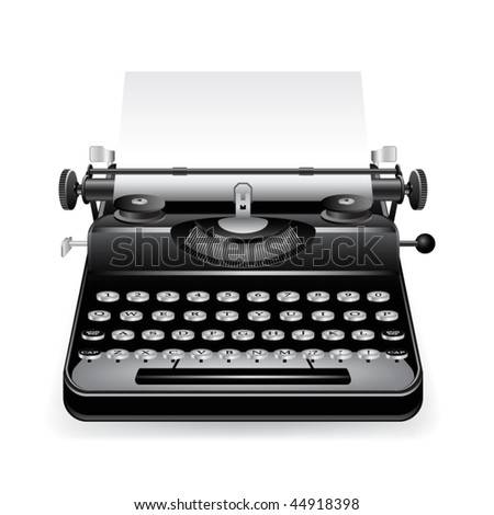 Old typewriter with a paper - stock vector