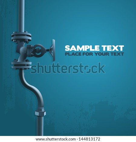 Old valve, industry illustration on blue with place for your text - stock vector