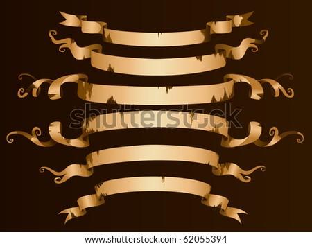 Old vector ribbon banner set - stock vector