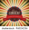Old vector round retro vintage grunge label on sunrays background - stock photo