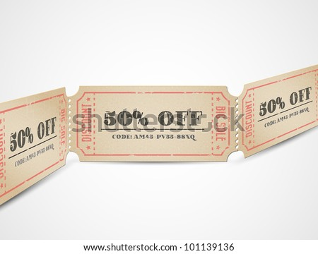 Old Vector vintage paper sale coupons with codes