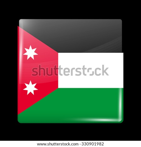 Old Version of Flag of Iraq. Glassy Icon Square Shape. This is File from the Collection Flags of Asia