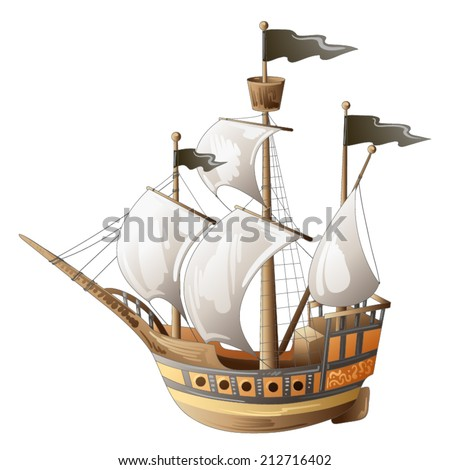 Old vessel - stock vector
